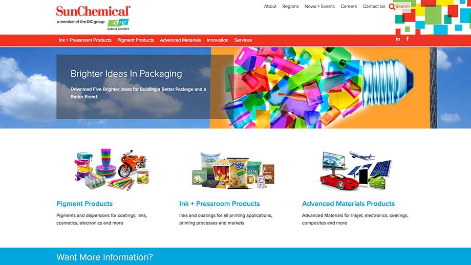 Sun Chemical Website Screenshot